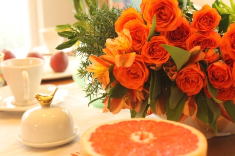 Orange roses, pink grapefruit and peaches!