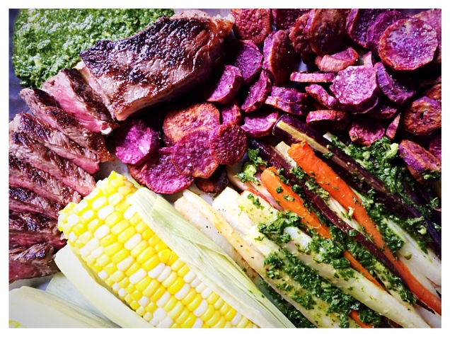 Grilled Steak, Roasted Carrots, Purple Sweet Potatoes, Corn and Green Sauce