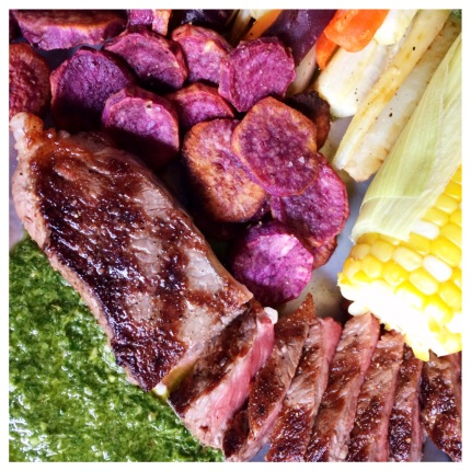 Grilled Steak with Green Sauce and Purple Sweet Potatoes