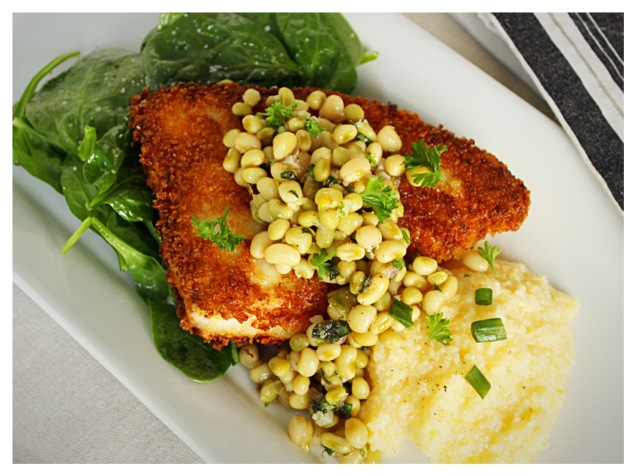panko-encrusted-swordfish-and-lady-pea-relish-over-baby-spinach