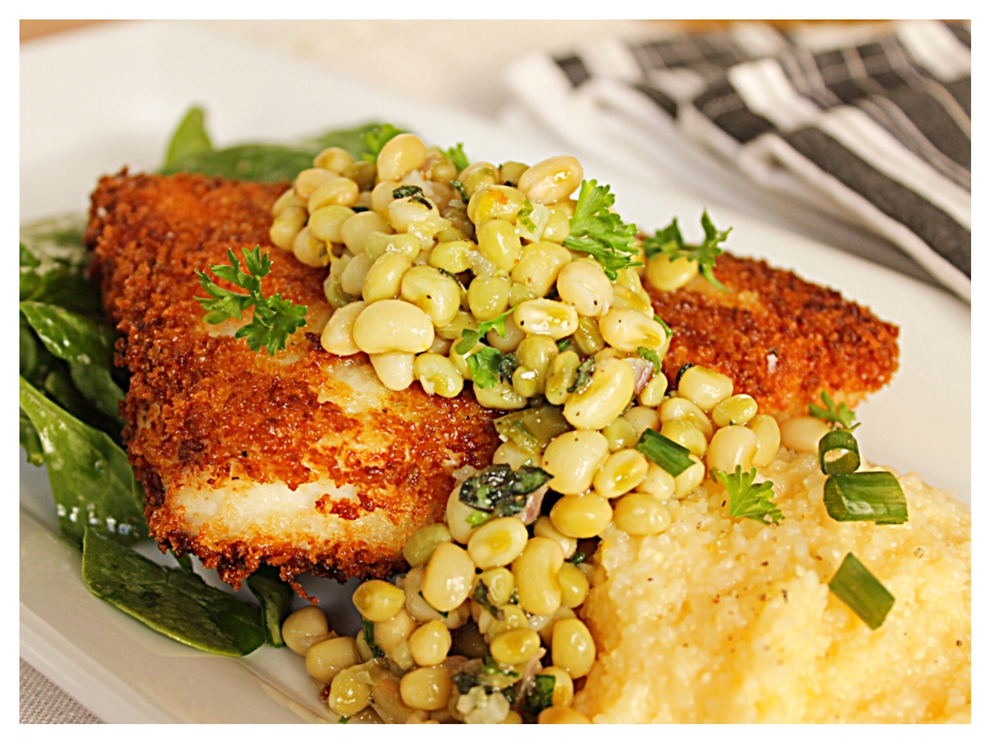 panko-encrusted-swordfish-and-lady-pea-relish-over-gouda-grits