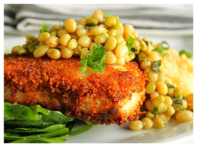 panko-swordfish-with-lady-pea-relish