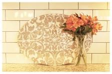 Damask Print and Subway Tile