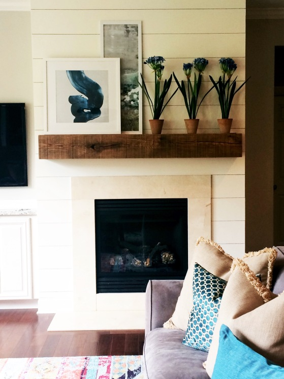 Shiplap Fireplace Feature with Floating Mantel