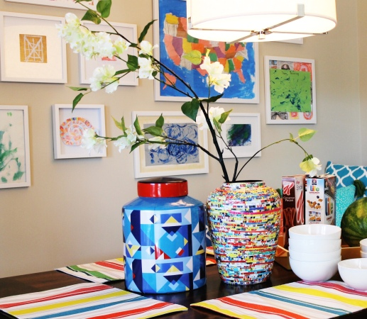 Breakfast Nook with colorful kid's art and jars