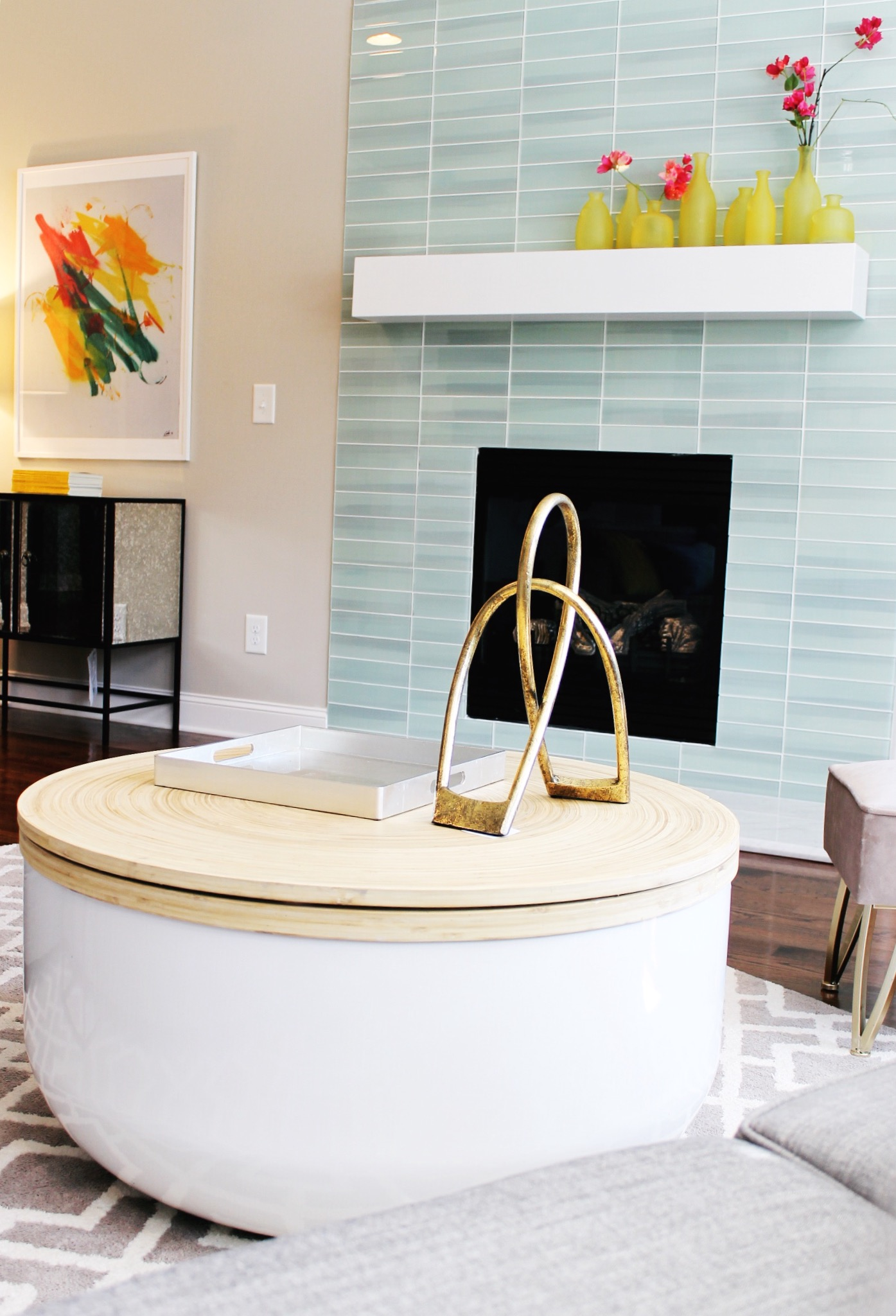 Glass Tiled Fireplace takes Center Stage