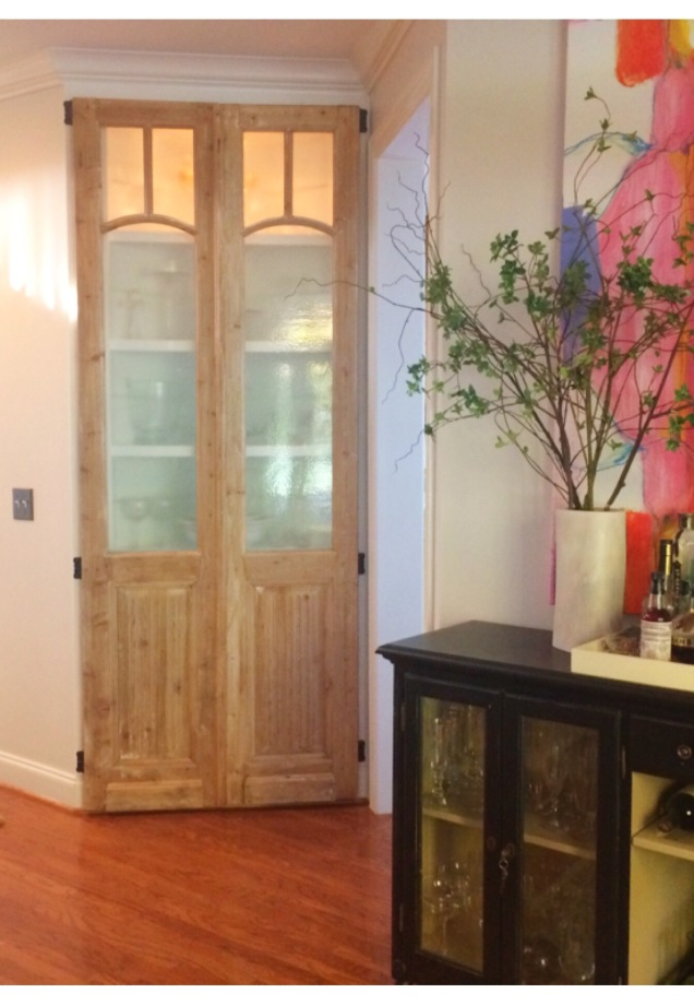 Custom Built-In China Cabinet with Vintage Doors