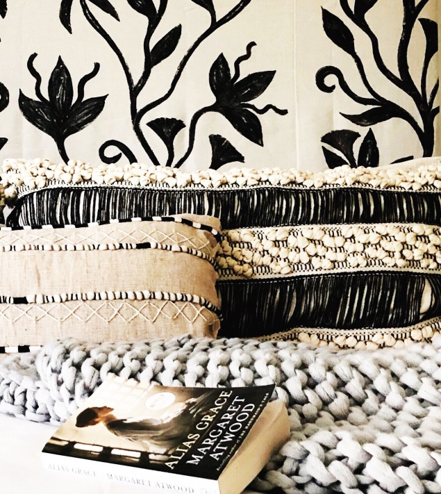 Romantic Boho Bedroom in Black and White Texture