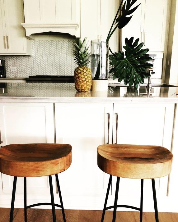 White Stone and Natural Wood Coastal Kitchen