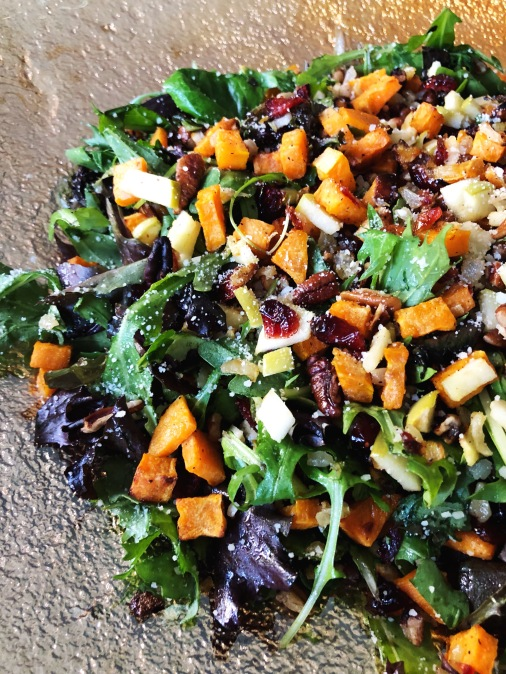 Autumnal Mixed Green Salad with Roasted Vegetables, Fruit and Nuts