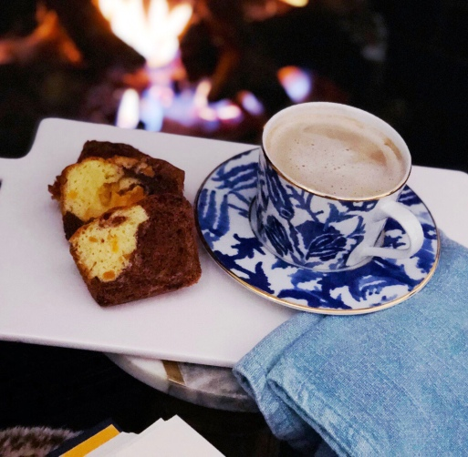 fireside cake and coffee