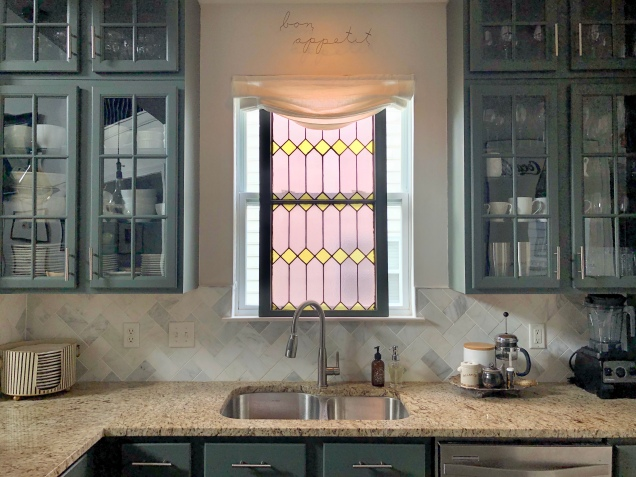 Pewter Green Kitchen Cabinets and Stained Glass
